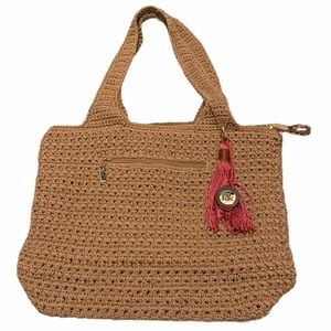 The Sak Brown/Tan Crocheted Shoulder Bag